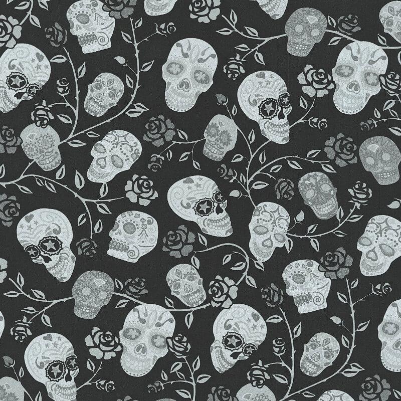 P Amp S International Skulls Rose Black Glitter Wallpaper