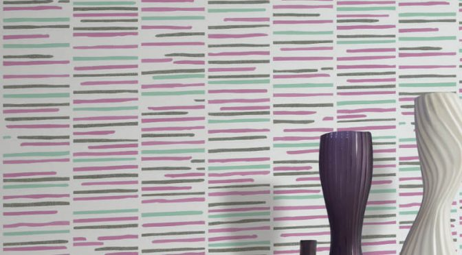 P&S International Stripe White Pink Glitter Wallpaper