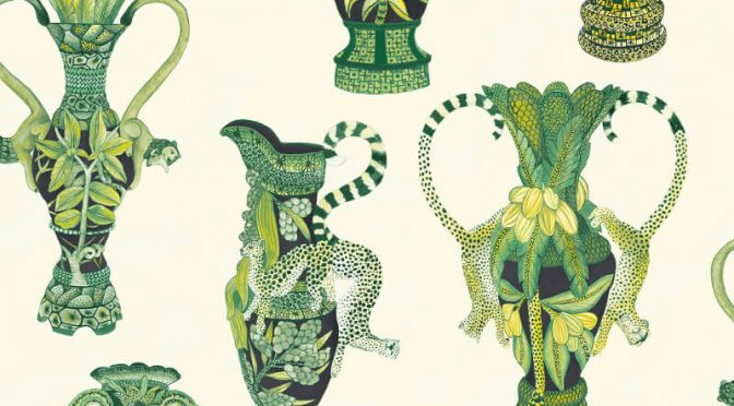 Cole & Son Khulu Vases Green/White Wallpaper