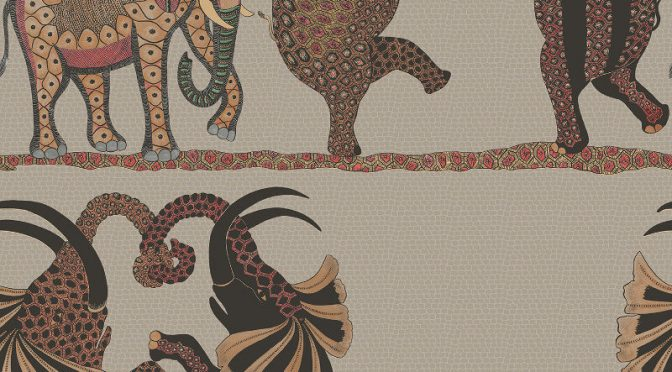 Cole & Son Safari Dance Red Linen Wallpaper
