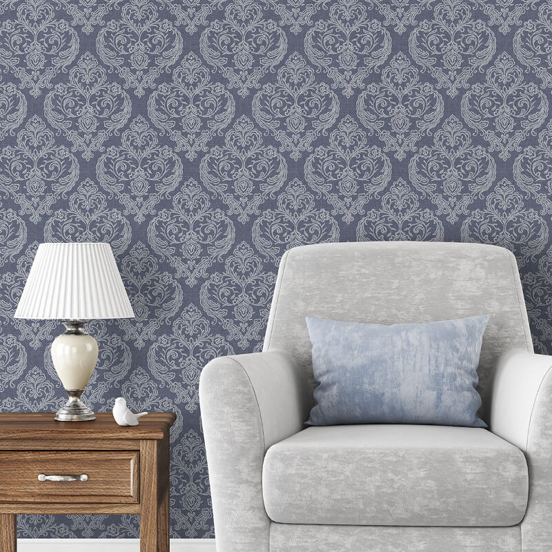 Crown Calico Damask Linen Blue Wallpaper Adding Texture