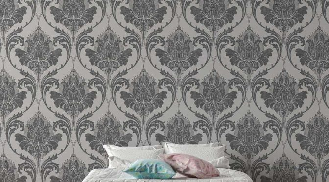 Crown Zahra Damask Charcoal Wallpaper