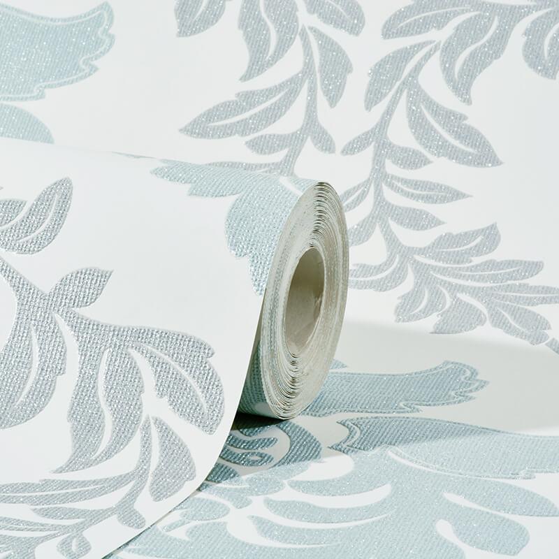 Erismann Damask Teal Grey Glitter Wallpaper Fascination