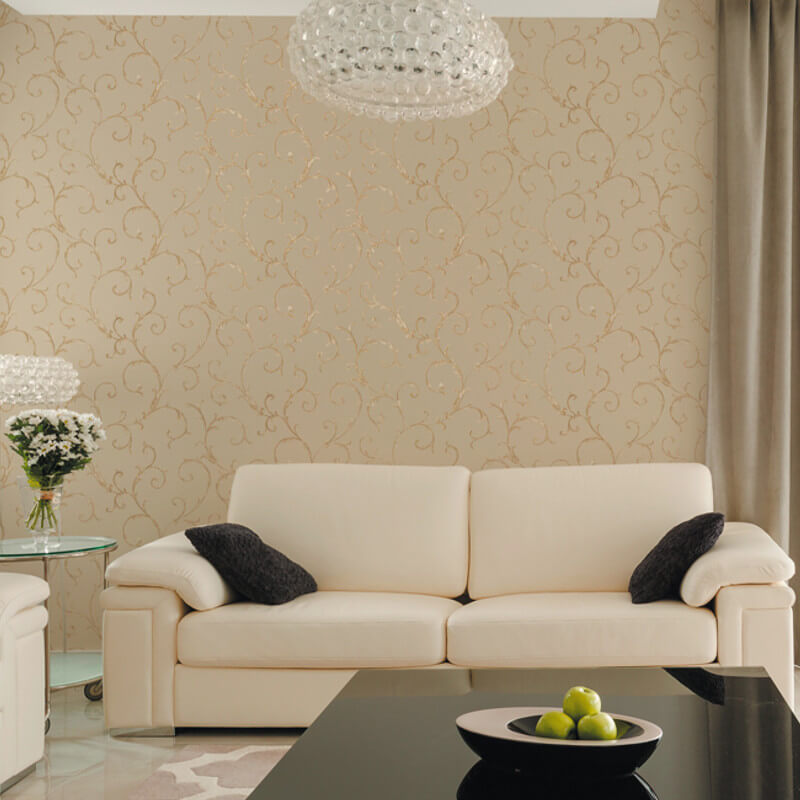 Muriva acanthus scroll beige wallpaper italian style - Best living room wallpaper designs ...