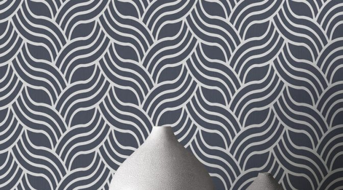 Muriva Art Deco Silver/Blue Metallic Wallpaper