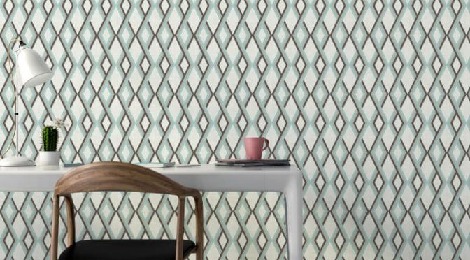 Muriva Carus Geo Blue Wallpaper