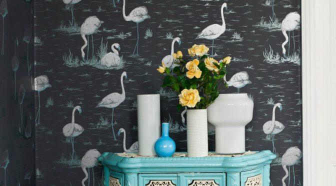 Cole & Son Flamingos Wallpaper Teal Silver Black