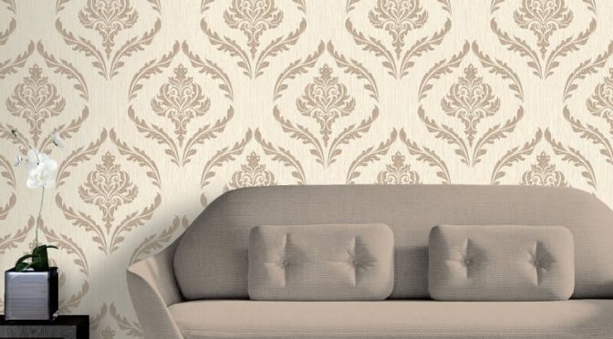 Debona Crystal Damask Ivory/Gold Glitter Wallpaper