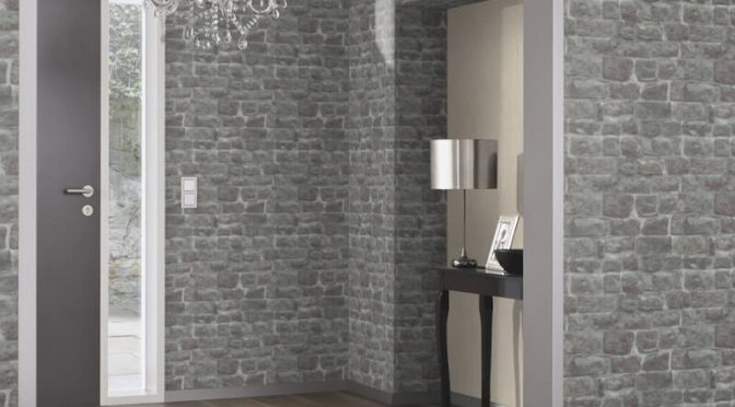 Erismann Brick/Stone Effect Charcoal Wallpaper