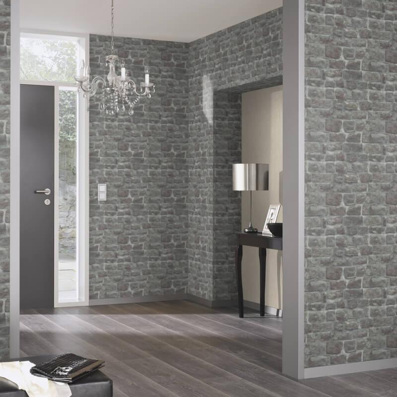 Erismann Brick Stone Effect Charcoal Wallpaper Rustic