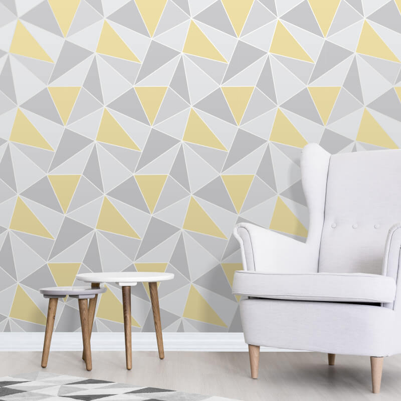 Fine Decor Apex Geo Yellow Grey Wallpaper Geometric