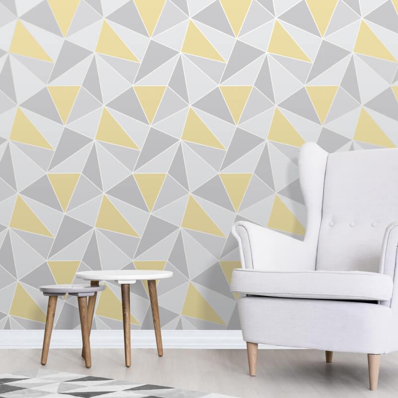 Fine Decor Apex Geo Yellow/Grey Wallpaper - Geometric Wallpaper