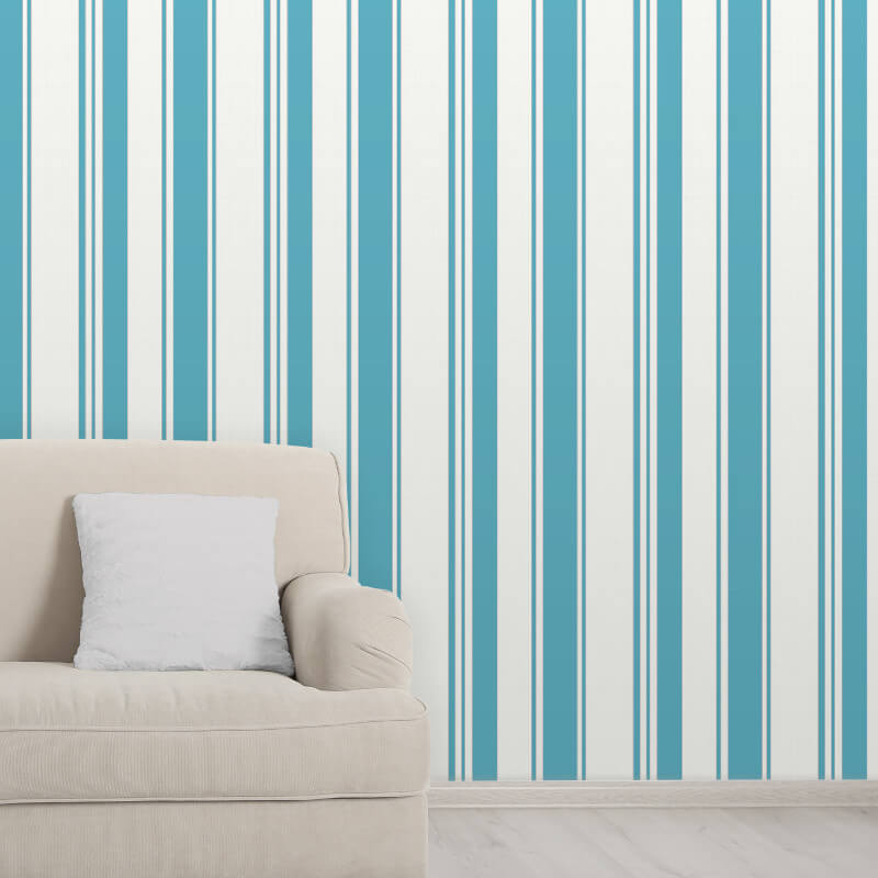 Isobelle Stripe Teal Silver Wallpaper Add Colour With