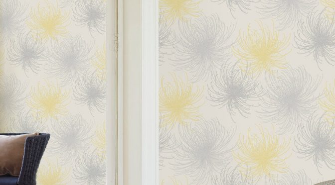 Grandeco Cosmo Floral Yellow Glitter Wallpaper