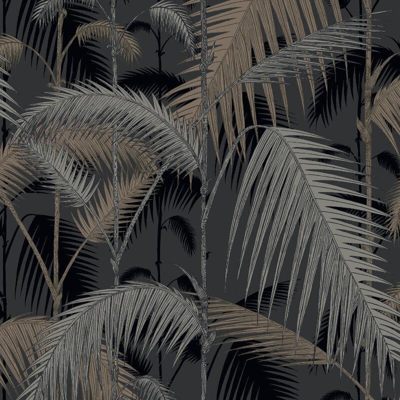 Palm Jungle Silver Black Wallpaper Cole Amp Son Leaf Designs