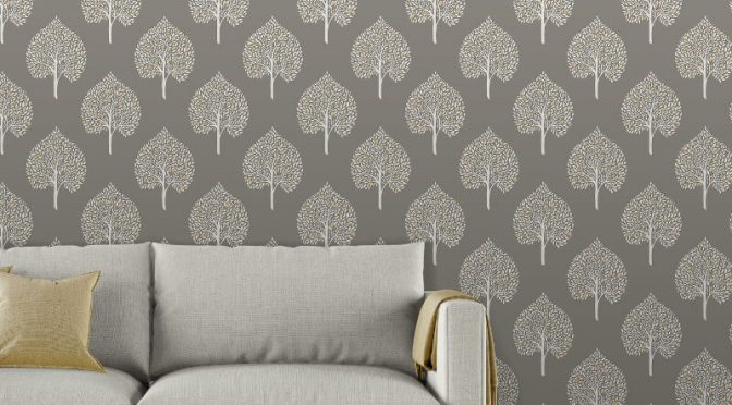 Fine Decor Annabelle Tree Grey Wallpaper
