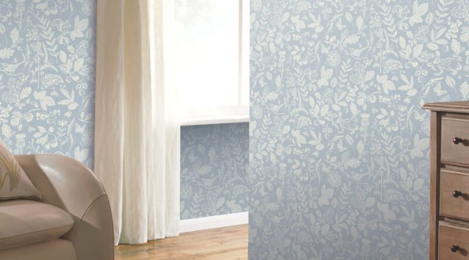 Arthouse Country Folk Blue Wallpaper