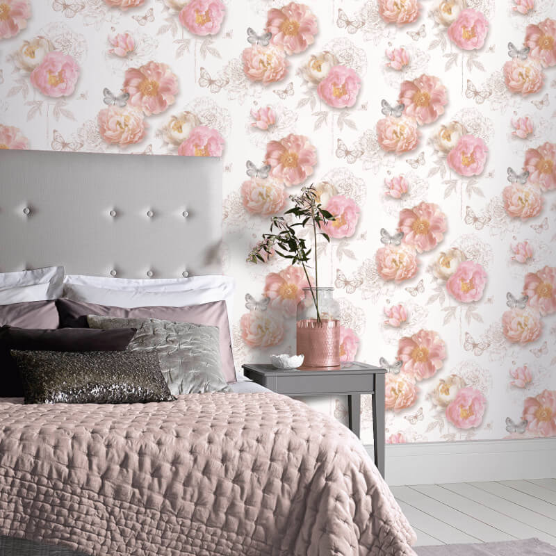 Arthouse Flower Garden Blush Glitter Wallpaper Arthouse