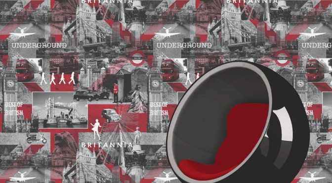 Muriva Britannia Black, White & Red Wallpaper