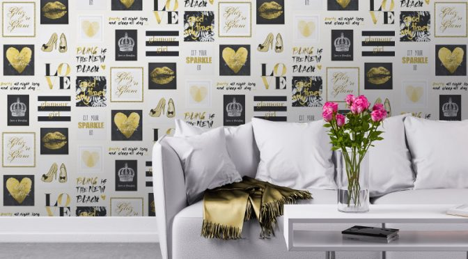 Muriva Glitz and Glam Wallpaper in Gold and Silver