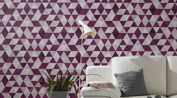 P&S International Graphics Geo Purple/Grey Wallpaper