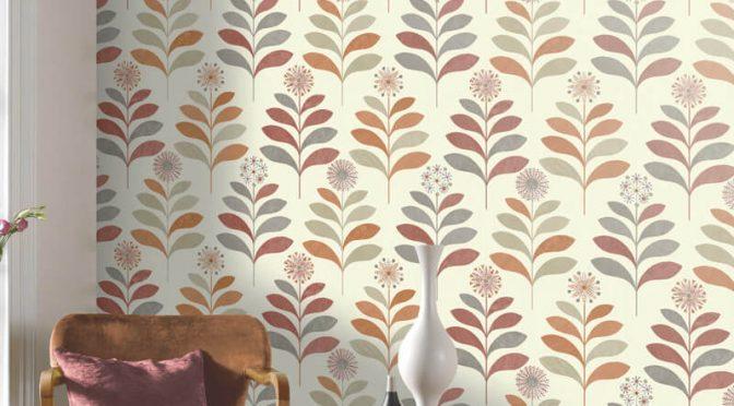 Tamara Leaf Orange Grey Wallpaper