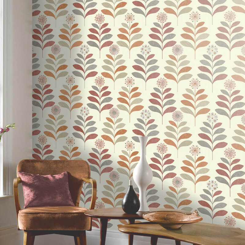 Tamara leaf orange grey wallpaper arthouse wallpaper - Art house wallpaper uk ...