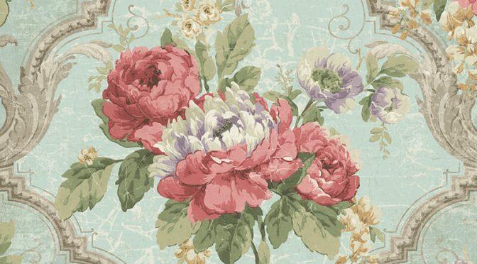Nina Hancock Framed Floral Green/Pink Wallpaper