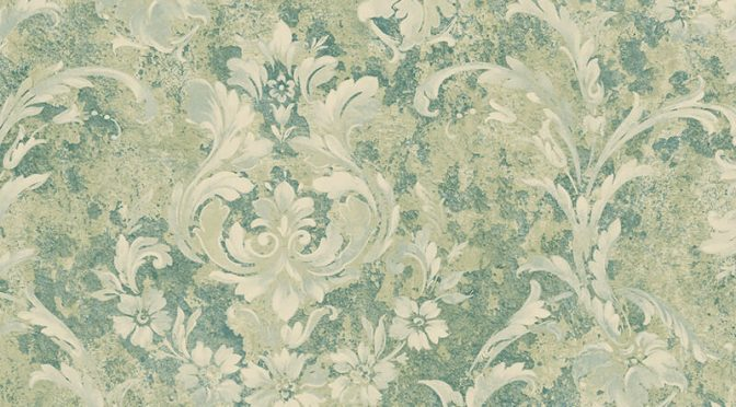 Nina Hancock Damask Aqua Wallpaper