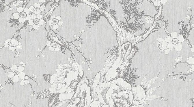 Nina Hancock Floral Silver Wallpaper