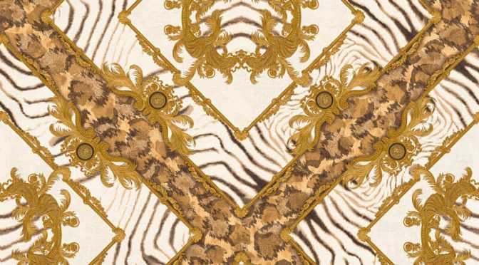 Versace Zebra Ornament Brown Metallic Wallpaper