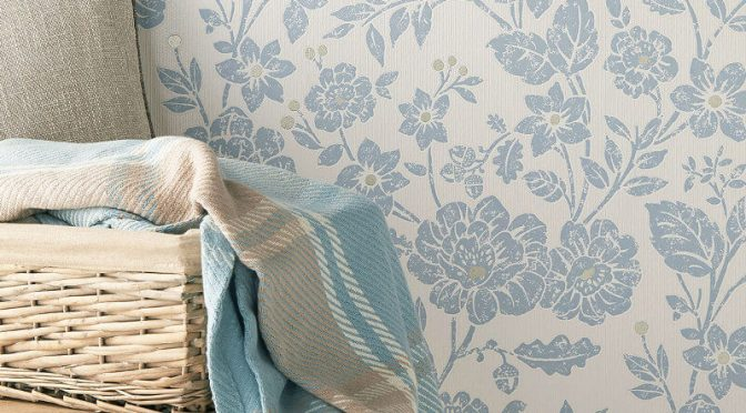 Crown Alexandra Floral Chambray Blue Wallpaper