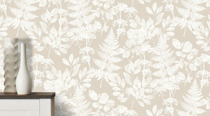 Crown Florence Bracken Floral Natural/White Wallpaper