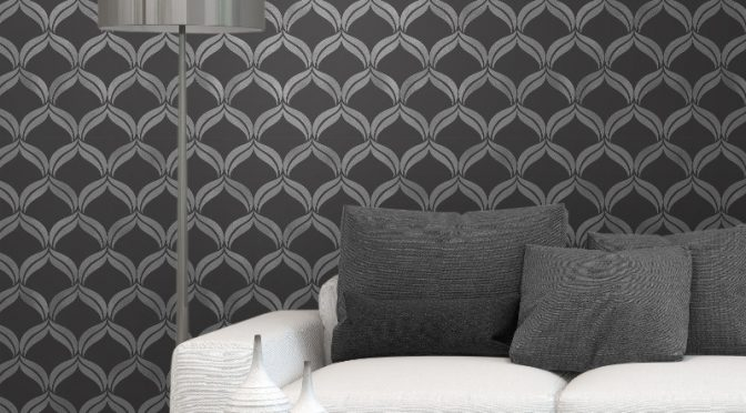 Fine Decor Geometric Black/Silver Glitter Wallpaper