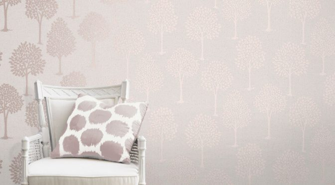 Fine Decor Quartz Tree Rose Gold Glitter Wallpaper