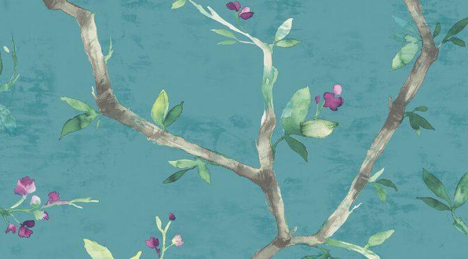 Nina Hancock Branch Trail Teal Wallpaper