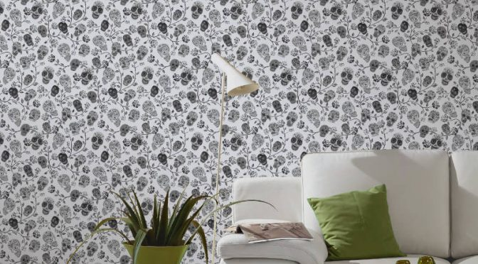 P&S International Skulls Rose White Glitter Wallpaper