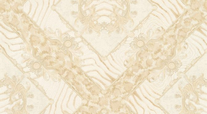 Versace Zebra Ornament Cream Metallic Wallpaper
