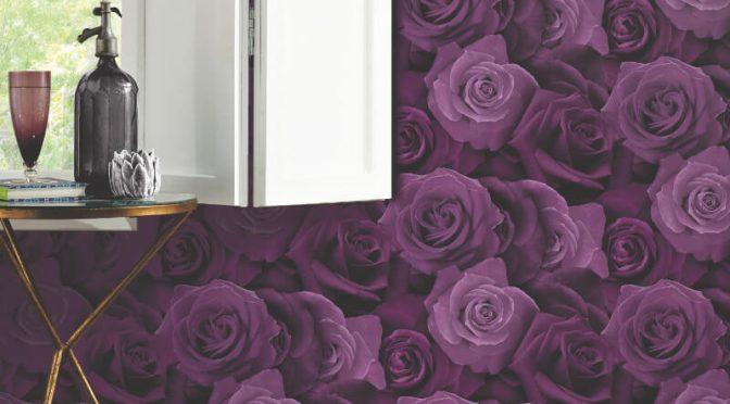 Arthouse Austin Rose Purple Wallpaper