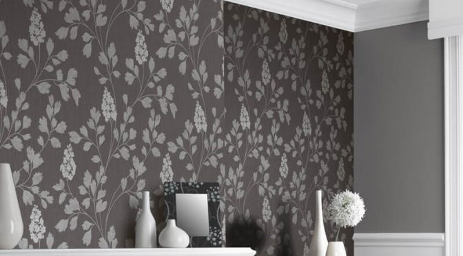 Arthouse Catalina Charcoal Leaf Glitter Wallpaper