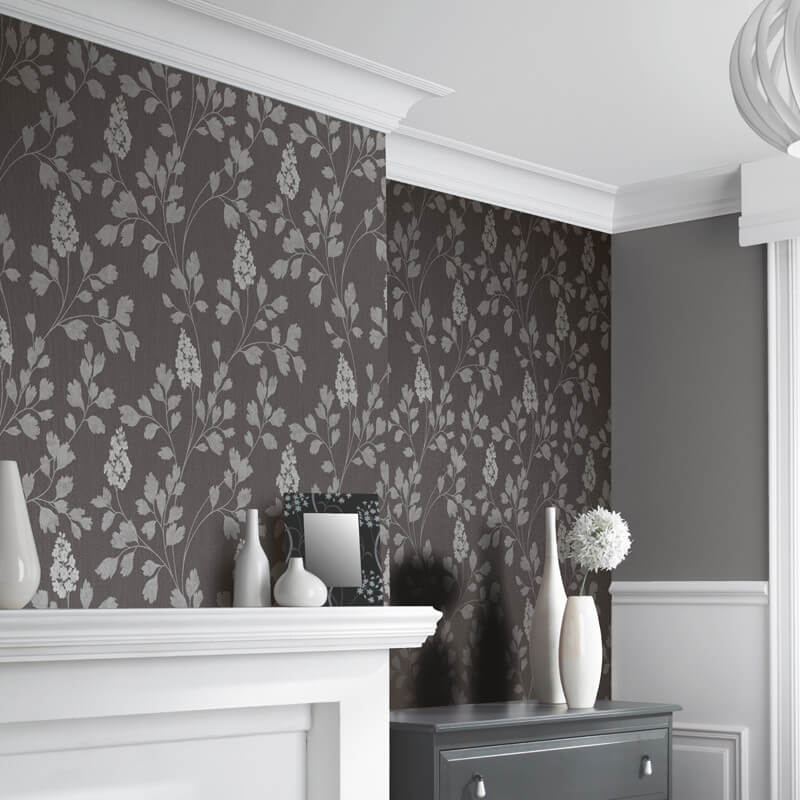 Catalina Charcoal Leaf Glitter Wallpaper Arthouse