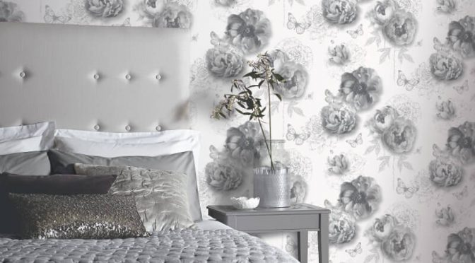 Arthouse Flower Garden Mono Glitter Wallpaper