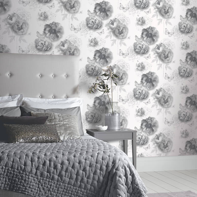 Flower Garden Mono Glitter Wallpaper Arthouse Imagine