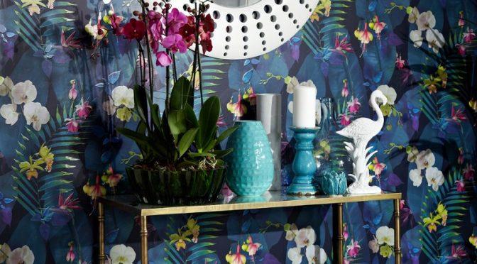 Arthouse Pindorama Floral/Leaf Navy Wallpaper