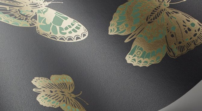Cole & Son Butterflies Green/Charcoal Wallpaper