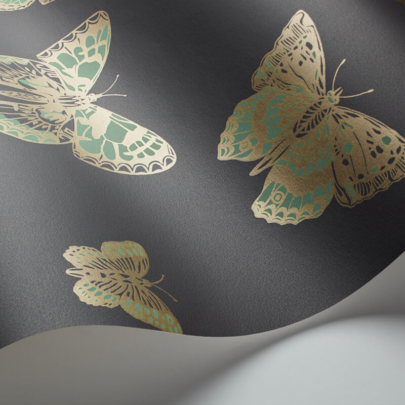 Cole son butterflies green charcoal wallpaper whimsical collection - Cole son ...