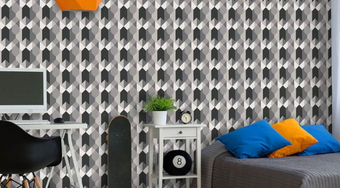 Coloroll Copenhagen Geometric Black/White Wallpaper
