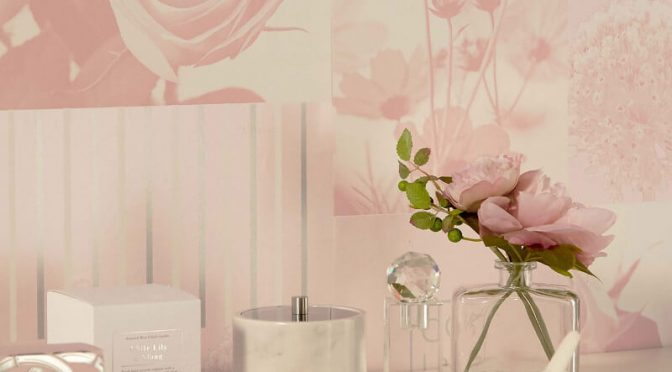 Crown Coco Floral Art Soft Pink Wallpaper