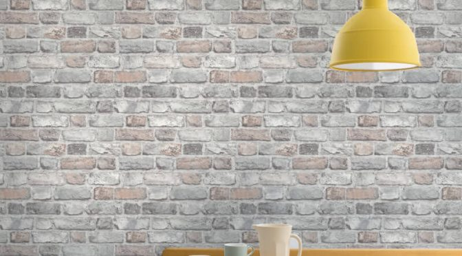 Grandeco Vintage House Brick Pastel Wallpaper