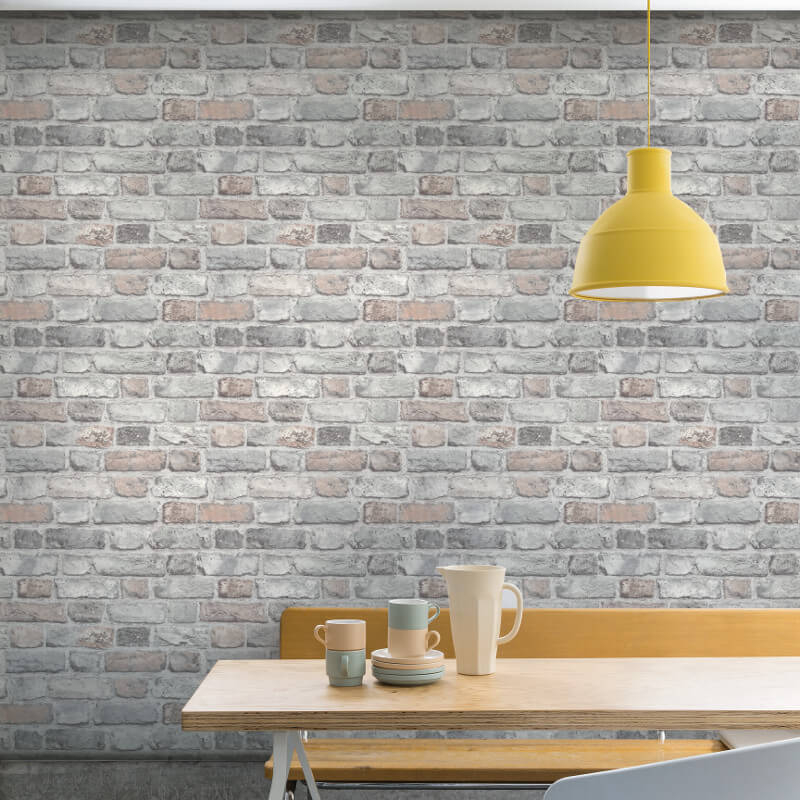Vintage House Brick Pastel Wallpaper  Grandeco Wallpaper